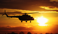 Helicopter against sunset sky, Russia 11098028748| 写真素材・ストックフォト・画像・イラスト素材|アマナイメージズ