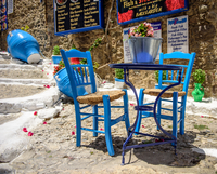 Traditional Blue Table and Chairs, Kos, Greece 11098100690| 写真素材・ストックフォト・画像・イラスト素材|アマナイメージズ