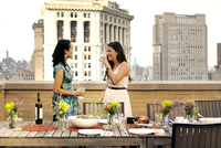 Friends at dinner party on urban rooftop 11100021103| 写真素材・ストックフォト・画像・イラスト素材|アマナイメージズ