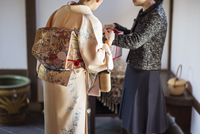 Females in traditional home interior,  traditional Japanese clothing, ,