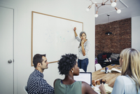 USA, New York, New York City, Businesswoman in front of whiteboard during meeting 11100029831| 写真素材・ストックフォト・画像・イラスト素材|アマナイメージズ