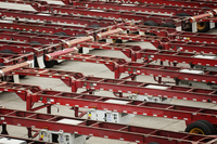 High angle view of trailers at factory 11100035794| 写真素材・ストックフォト・画像・イラスト素材|アマナイメージズ