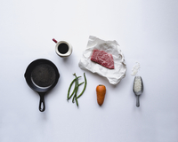 Directly above shot of ingredients on white background 11100037744| 写真素材・ストックフォト・画像・イラスト素材|アマナイメージズ