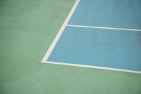 High angle view of corner marking in tennis court