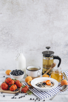 High angle view of breakfast on table against white wall 11100069372| 写真素材・ストックフォト・画像・イラスト素材|アマナイメージズ