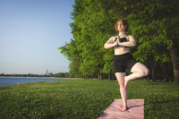 Woman practicing tree pose yoga at park by sea against trees and clear sky 11100072611| 写真素材・ストックフォト・画像・イラスト素材|アマナイメージズ