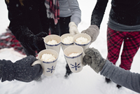 Cropped hands of family toasting drinks in mugs during winter 11100073753| 写真素材・ストックフォト・画像・イラスト素材|アマナイメージズ