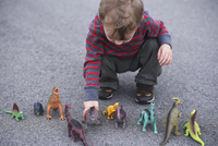 High angle view of boy playing with dinosaur figurines while crouching on road 11100073877| 写真素材・ストックフォト・画像・イラスト素材|アマナイメージズ