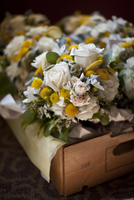 High angle view of bunch of flowers in container at wedding ceremony 11100074897| 写真素材・ストックフォト・画像・イラスト素材|アマナイメージズ