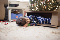 Boy sleeping in cardboard box at home during Christmas