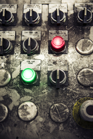 Close-up of buttons on messy control panel at metal industry 11100086072| 写真素材・ストックフォト・画像・イラスト素材|アマナイメージズ