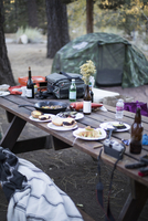 Food and drink on picnic table at campsite 11100088976| 写真素材・ストックフォト・画像・イラスト素材|アマナイメージズ