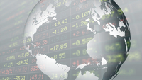 Double exposure of globe and stock market data on trading board