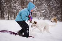 Playful girl playing with dog on snowy field during snowfall 11100091445| 写真素材・ストックフォト・画像・イラスト素材|アマナイメージズ