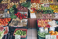 High angle view of vegetables for sale at market stall 11100092324| 写真素材・ストックフォト・画像・イラスト素材|アマナイメージズ