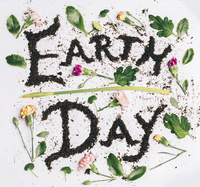 Earth day text made with soil amidst flowers and leaves on white background 11100092799| 写真素材・ストックフォト・画像・イラスト素材|アマナイメージズ