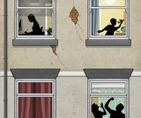 Man beating woman behind windowpane with boy and girl on the upper floor 11103000327| 写真素材・ストックフォト・画像・イラスト素材|アマナイメージズ