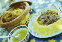 Traditional food of chicken tagine, and lamb with cous cous, Marrakech 11104001637| 写真素材・ストックフォト・画像・イラスト素材|アマナイメージズ