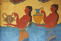 Mural paintings, Corridor of the Procession, Minoan archaeological site of Knossos, Crete, Greek Islands 11104006299| 写真素材・ストックフォト・画像・イラスト素材|アマナイメージズ