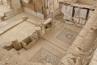 Elevated view of mosaics, murals and frescoes in a Terrace House, Curetes Street, Ephesus, near Kusadasi, Anatolia, Turkey Minor