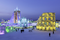 Spectacular illuminated ice sculptures at the Harbin Ice and Snow Festival in Harbin, Heilongjiang Province