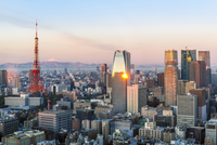 Elevated evening view of the city skyline and iconic Tokyo Tower, Tokyo, Japan, Asia 11104026013| 写真素材・ストックフォト・画像・イラスト素材|アマナイメージズ