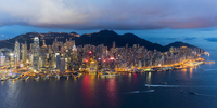 Elevated view, Harbour and Central district of Hong Kong Island and Victoria Peak, Hong Kong, China, Asia 11104026027| 写真素材・ストックフォト・画像・イラスト素材|アマナイメージズ