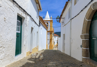 Two cats in a back street in Alegrete, a medieval walled village bordering Spain in the high Alentejo, Portugal, Europe 11104028159| 写真素材・ストックフォト・画像・イラスト素材|アマナイメージズ