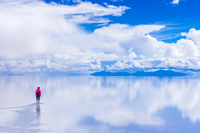Person Standing On Salt Flat Against Sky