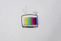 Drawing Of Bird And Television Set With Crayons On Paper 11115027289| 写真素材・ストックフォト・画像・イラスト素材|アマナイメージズ
