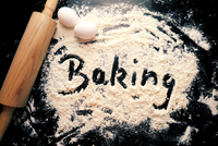 Directly Above Shot Of Baking Text On Flour With Rolling Pin And Eggs On Kitchen Counter 11115028448| 写真素材・ストックフォト・画像・イラスト素材|アマナイメージズ