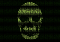 Green Skull Over Binary Numbers Against Black Background 11115032940| 写真素材・ストックフォト・画像・イラスト素材|アマナイメージズ