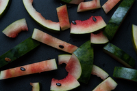 High Angle View Of Watermelon Rinds On Table At Home 11115034259| 写真素材・ストックフォト・画像・イラスト素材|アマナイメージズ