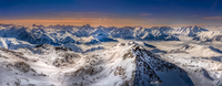 Panoramic Shot Of Snowcapped Mountains Against Sky During Sunset 11115038955| 写真素材・ストックフォト・画像・イラスト素材|アマナイメージズ