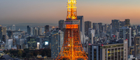 Illuminated Tokyo Tower Amidst City Against Clear Sky During Sunset 11115041515| 写真素材・ストックフォト・画像・イラスト素材|アマナイメージズ