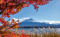 Scenic View Of Snowcapped Mountains Against Sky During Autumn 11115072330| 写真素材・ストックフォト・画像・イラスト素材|アマナイメージズ