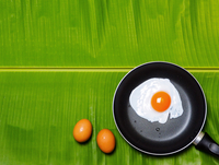 Directly Above Shot Of Eggs And Fried Egg In Cooking Pan On Leaf 11115077849| 写真素材・ストックフォト・画像・イラスト素材|アマナイメージズ