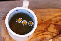 Close-up Of White Daisies In Herbal Tea On Table 11115078171| 写真素材・ストックフォト・画像・イラスト素材|アマナイメージズ