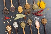 Close-up Of Various Spices In Wooden Spoons On Table