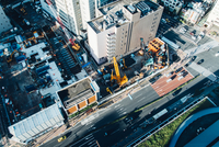 Aerial View Of Construction Site In City Street 11115082391| 写真素材・ストックフォト・画像・イラスト素材|アマナイメージズ