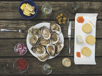 Directly Above Shot Of Oysters In Plate On Wooden Table 11115084511| 写真素材・ストックフォト・画像・イラスト素材|アマナイメージズ