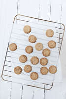Directly Above Shot Of Oatmeal Cookies On Cooling Rack At Table 11115085377| 写真素材・ストックフォト・画像・イラスト素材|アマナイメージズ