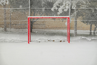 Goal Post On Snow Covered Soccer Field