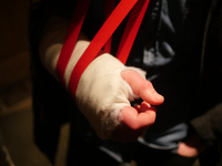 Close-up Of Persons Injured Hand On Sling