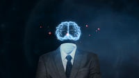 Digital Composite Image Of Headless Man With Digital Brain Against Abstract Background