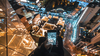 Birds eye view of the city at the night, Shanghai, China