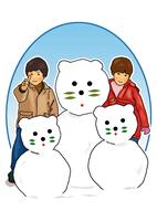 雪だるまを作って遊ぶ子供 28144091949| 写真素材・ストックフォト・画像・イラスト素材|アマナイメージズ