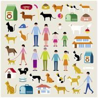 家族とペットセット 60000000303  写真素材・ストックフォト・画像・イラスト素材 アマナイメージズ