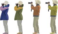 バードウォッチング女性(2×2)望遠カメラ・アウトドア・ジャケット 60006000085| 写真素材・ストックフォト・画像・イラスト素材|アマナイメージズ
