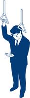 通勤中にスマホを操作するビジネスマン 60009000174  写真素材・ストックフォト・画像・イラスト素材 アマナイメージズ